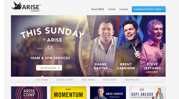 arise church website design - Church Website Design Ideas